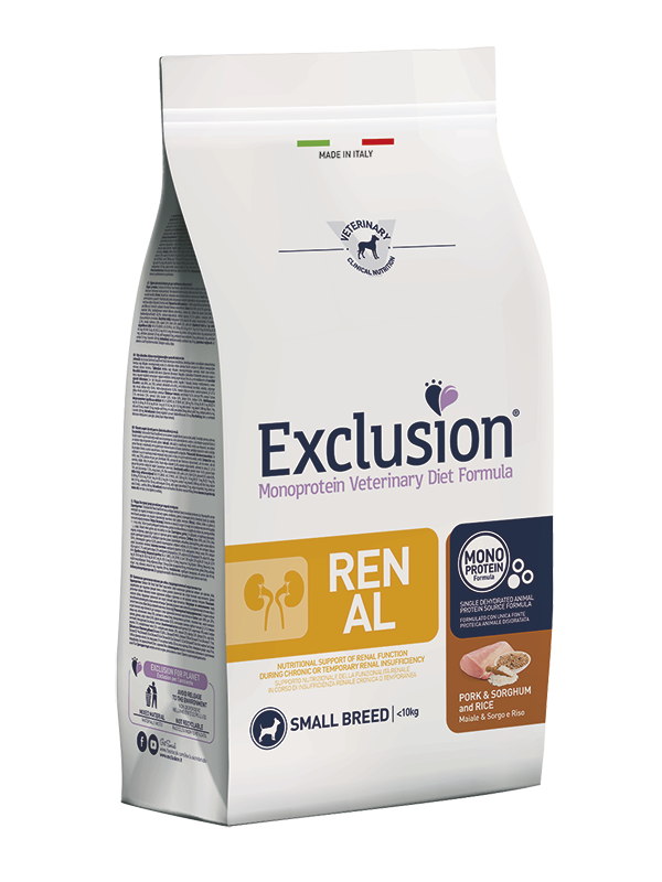 Exclusion Diet Renal Medium Large Maiale Sorgo Riso 12 kg Per Cani